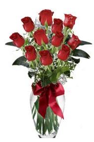 11 adet kirmizi gül vazo mika vazo içinde  Aydın 14 şubat sevgililer günü çiçek