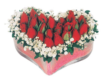 Aydın çiçekçi telefonları  mika kalpte kirmizi güller 9