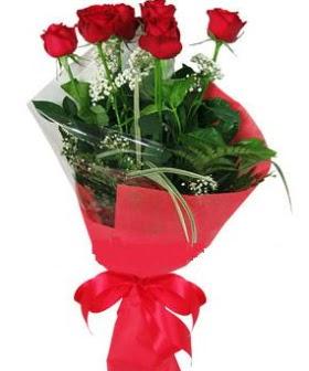 5 adet kırmızı gülden buket  Aydın kaliteli taze ve ucuz çiçekler