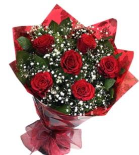6 adet kırmızı gülden buket  Aydın yurtiçi ve yurtdışı çiçek siparişi