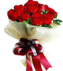 9 adet kırmızı gülden buket tanzimi  Aydın çiçek gönderme sitemiz güvenlidir