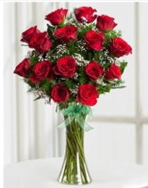 Cam vazo içerisinde 11 kırmızı gül vazosu  Aydın anneler günü çiçek yolla