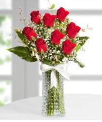 7 Adet vazoda kırmızı gül sevgiliye özel  Aydın çiçek siparişi sitesi