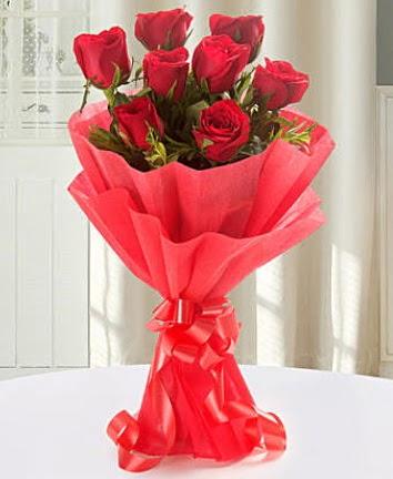 9 adet kırmızı gülden modern buket  Aydın İnternetten çiçek siparişi