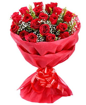 21 adet kırmızı gülden modern buket  Aydın çiçek gönderme