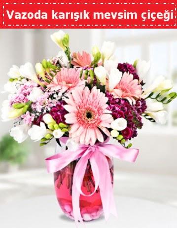 Vazoda karışık mevsim çiçeği  Aydın çiçek , çiçekçi , çiçekçilik