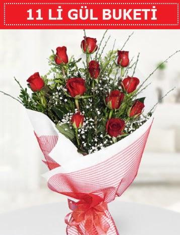 11 adet kırmızı gül buketi Aşk budur  Aydın çiçek gönderme sitemiz güvenlidir