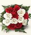 Aydın çiçek , çiçekçi , çiçekçilik  10 adet kirmizi beyaz güller - anneler günü için ideal seçimdir -
