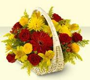 Aydın 14 şubat sevgililer günü çiçek  sepette mevsim çiçekleri