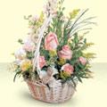 Aydın 14 şubat sevgililer günü çiçek  sepette pembe güller