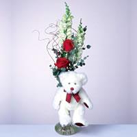 2 adet gül ve panda özel  Aydın çiçekçi mağazası