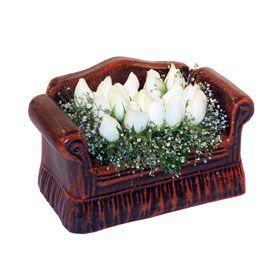 seramik içerisinde 11 gül  Aydın hediye çiçek yolla