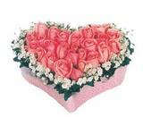 kalp içerisinde 9 adet pembe gül  Aydın çiçek satışı