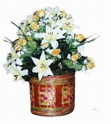 yapay karisik çiçek sepeti   Aydın cicekciler , cicek siparisi