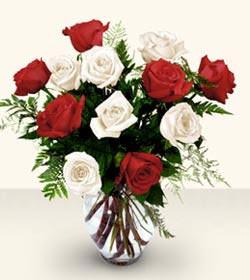 Aydın uluslararası çiçek gönderme  6 adet kirmizi 6 adet beyaz gül cam içerisinde