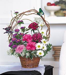 Aydın cicekciler , cicek siparisi  sepet içerisinde karanfil gerbera ve kir çiçekleri