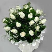 Aydın hediye çiçek yolla  11 adet beyaz gül buketi ve bembeyaz amnbalaj