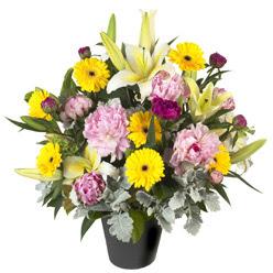 karisik mevsim çiçeklerinden vazo tanzimi  Aydın uluslararası çiçek gönderme