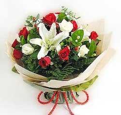 güller ve kazablanklardan görsel bir buket  Aydın internetten çiçek satışı