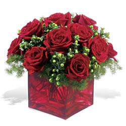 Aydın çiçek yolla  9 adet kirmizi gül cam yada mika vazoda
