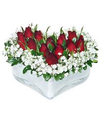 Aydın internetten çiçek siparişi  mika kalp içerisinde 9 adet kirmizi gül