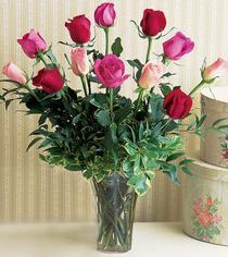 Aydın çiçek mağazası , çiçekçi adresleri  12 adet karisik renkte gül cam yada mika vazoda
