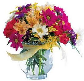 Aydın internetten çiçek satışı  cam yada mika içerisinde karisik mevsim çiçekleri