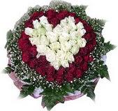 Aydın çiçek mağazası , çiçekçi adresleri  27 adet kirmizi ve beyaz gül sepet içinde