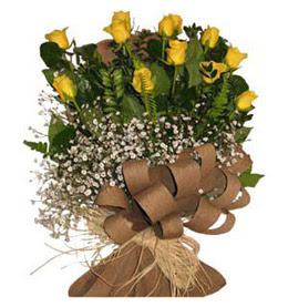 Aydın çiçek yolla  9 adet sari gül buketi