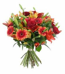 Aydın çiçek gönderme  3 adet kirmizi gül ve karisik kir çiçekleri demeti