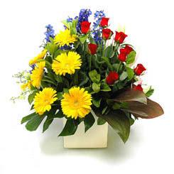 Aydın online çiçek gönderme sipariş  9 adet gül ve kir çiçekleri cam yada mika vazoda