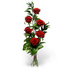 Aydın uluslararası çiçek gönderme  mika yada cam vazoda 6 adet essiz gül