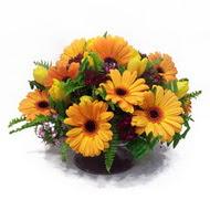 gerbera ve kir çiçek masa aranjmani  Aydın çiçek siparişi vermek