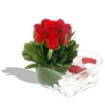Mika kalp içerisinde 9 adet kirmizi gül  Aydın çiçek servisi , çiçekçi adresleri