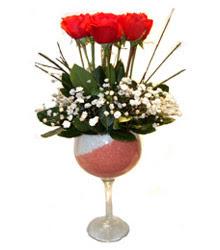 Aydın çiçekçiler  cam kadeh içinde 7 adet kirmizi gül çiçek
