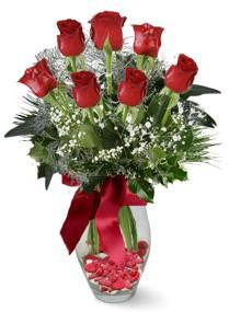 7 adet vazoda gül  Aydın internetten çiçek satışı  kirmizi gül