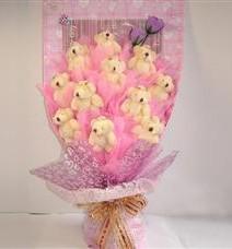 11 adet pelus ayicik buketi  Aydın çiçek yolla