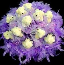 11 adet pelus ayicik buketi  Aydın çiçek , çiçekçi , çiçekçilik