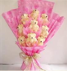 9 adet pelus ayicik buketi  Aydın anneler günü çiçek yolla
