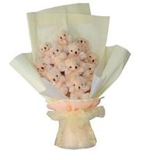 11 adet pelus ayicik buketi  Aydın ucuz çiçek gönder