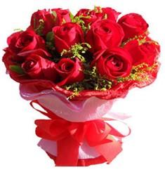 9 adet kirmizi güllerden kipkirmizi buket  Aydın çiçekçiler