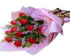 11 adet kirmizi güllerden görsel buket  Aydın çiçek gönderme sitemiz güvenlidir