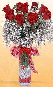 9 adet kirmizi gül cam yada mika vazoda  Aydın çiçek mağazası , çiçekçi adresleri