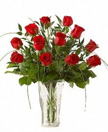 cam yada mika vazo içerisinde 9 kirmizi gül  Aydın çiçek siparişi sitesi