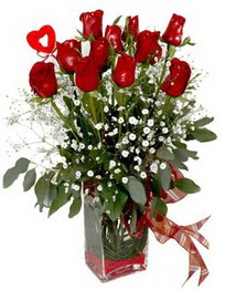 Aydın çiçek siparişi vermek  9 adet mika yada cam vazoda gül tanzimi kalp çubuk