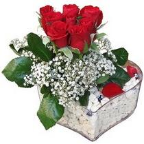 Aydın güvenli kaliteli hızlı çiçek  kalp mika içerisinde 7 adet kirmizi gül