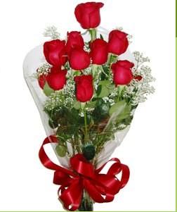 Aydın uluslararası çiçek gönderme  10 adet kırmızı gülden görsel buket