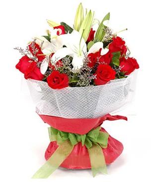 Aydın hediye çiçek yolla  1 dal kazablanka 11 adet kırmızı gül buketi