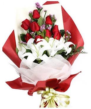 Aydın çiçekçiler  1 dal kazablankaa 9 adet kırmızı gül buketi