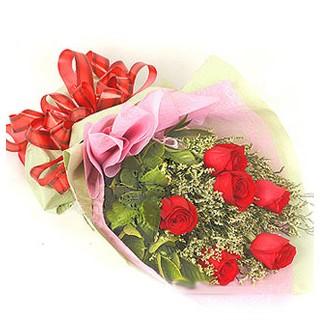 Aydın çiçek , çiçekçi , çiçekçilik  6 adet kırmızı gülden buket